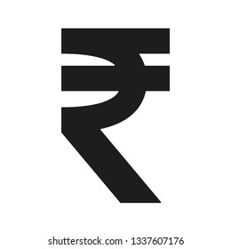Indian Rupee INR vector currency icon symbols illustration in black isolated on white background.