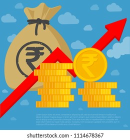 Indian rupee investment and saving financial  growing chart flat design vector template. Coins, money bag and arrow icon mock up.
