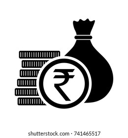 Indian Rupee, money bag with coins and INR currency symbol, vector illustration.