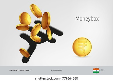 Indian Rupee money box with flying Indian Rupee coins, finance concept. Vector illustration for print, websites, web design, mobile app, infographics.