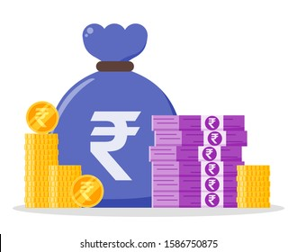 Indian Rupee money bundle and coin stack sack bag vector icon logo and design. India currency business, payment and finance element. Can be used for web, mobile, infographic, and print.