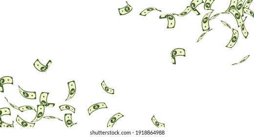 Indian rupee notes falling. Floating INR bills on white background. India money. Classic vector illustration. Exceptional jackpot, wealth or success concept.