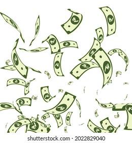 Indian rupee notes falling. Random INR bills on white background. India money. Brilliant vector illustration. Elegant jackpot, wealth or success concept.