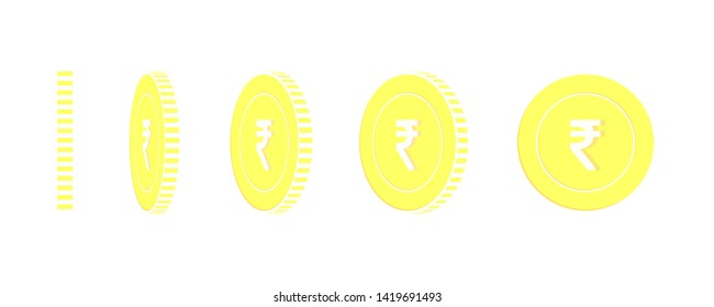 Indian rupee rotating coins set, animation ready. Yellow INR gold coins rotation. India metal money. Indelible cartoon vector illustration.