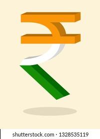 Indian Rupee symbol sign 3D tricolor INR Money