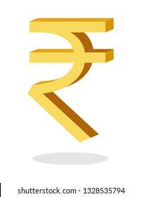 Indian Rupee symbol sign 3D golden INR Money