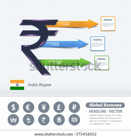 Indian Rupees Symbol Business Infographics Design Stock Vector