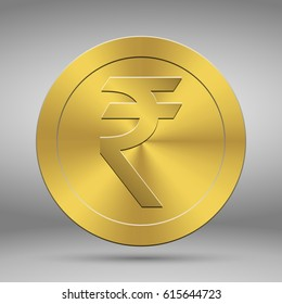 Indian rupees symbol on gold coin, money sign vector illustration on white background