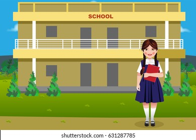 An Indian rural government school building with girl student holding a book in hand