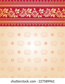 Indian saree design with flowers and elephants