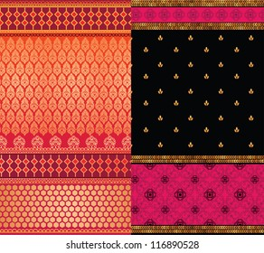 Indian Sari Borders, detailed and easily editable