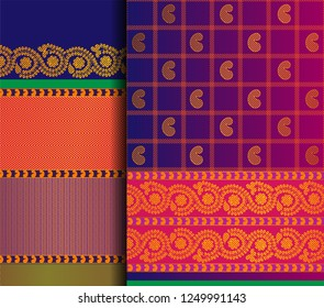 Indian Sari Vector pattern set. Traditional handmade Indian silk sari /saree with golden thread details, woman wear on festival, ceremony, and weddings