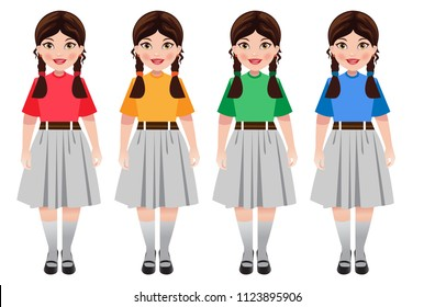 An Indian school girl in school uniform. The uniform color has variations according to groups/ houses in school