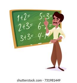 Indian school teacher with a green chalkboard. Vector cartoon illustration.