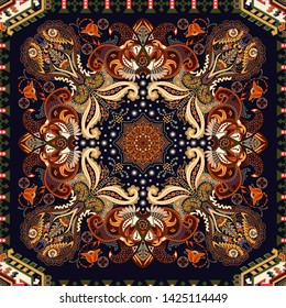 Indian seamless ornament. Vector symmetric pattern, ethnic style. Backdrop with big decorative elements. Indian, turkey, arabian background. Design for textile, fabric, carpet, towel, shawl,  rug
