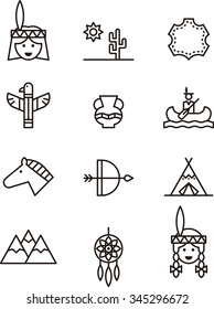 INDIAN set of outline icons