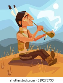 Indian shaman chief character smoking pipe of peace. Vector flat cartoon illustration