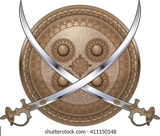 indian shield with crossed talwar swords