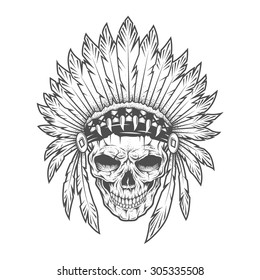 Indian skull with feathers.