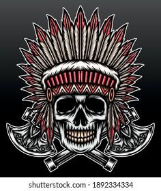 Indian skull head. Premium vector
