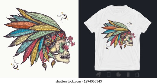 Indian skull. Print for t-shirts and another, trendy apparel design. Warrior symbol. Native American indian feather headdress with human skull