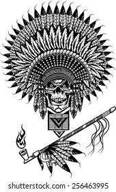 Indian skull smoking peace pipe
