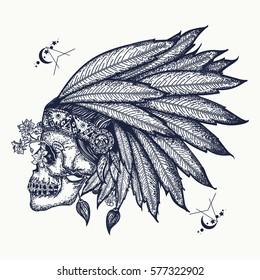 Indian skull tattoo art. Warrior symbol. Native American indian feather headdress with human skull t-shirt design