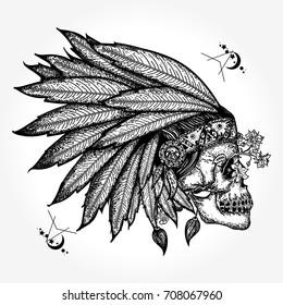 Indian skull tattoo art. Warrior symbol. Native American feather headdress with human skull t-shirt design