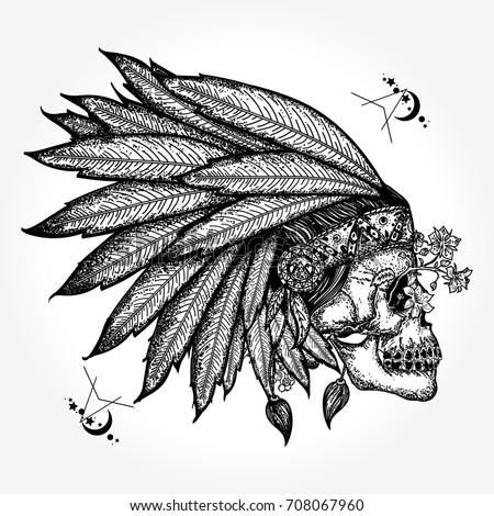 Indian Skull Tattoo Art Warrior Symbol Stock Vector Royalty Free