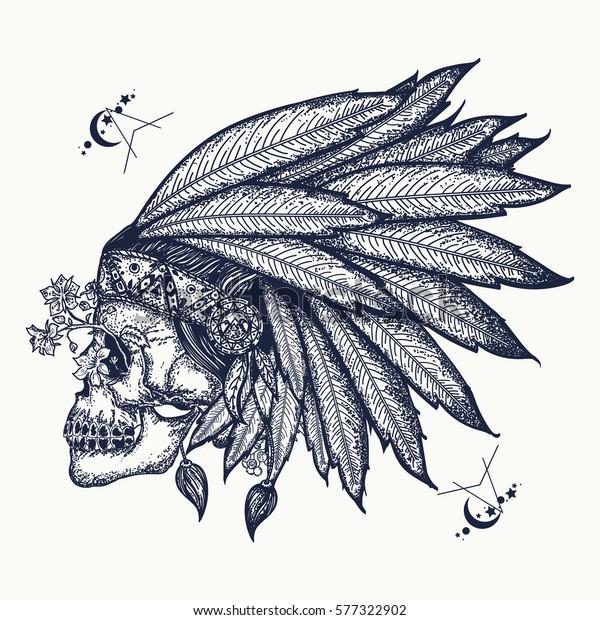 Indian Skull Tattoo Art Warrior Symbol Stock Vector Royalty Free 577322902,Rose And Skull Sleeve Tattoo Designs