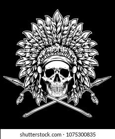 Indian Skull Warrior Emblem Vector Illustration