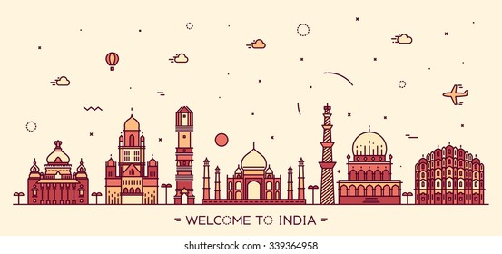 Indian skyline. Bangalore, Mumbai, Ahmedabad, Delhi, Hyderabad, Jaipur landmarks. Trendy vector illustration, linear style