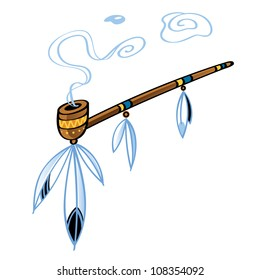 Indian smoking Pipe american tradition bird feather decorative ornament