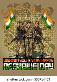Indian Soldier fighting for Nation on Happy Republic Day of India background. Vector illustration