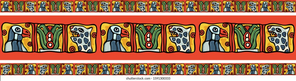 Indian South American tribal Maya or Aztec colorful national style border ornament. Birds, leopards, eagles, cactus motifs in ethnic style. Colorful exotic vector stock illustration