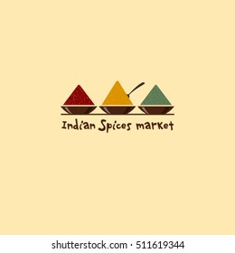 Indian Spices market logo. Spices emblem. Three bowls with spices.