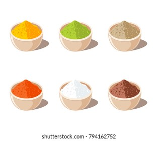 Indian Spices Powder in Bowl. Vector illustration