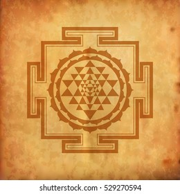 Indian Spiritual Sri Yantra -  Vintage  Design of Hindu Prayer Symbol formed with Lotus and Triangles Representing Positive Energy Sign.