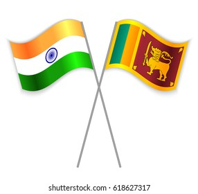 Indian and Sri Lankan crossed flags. India combined with Sri Lanka isolated on white. Language learning, international business or travel concept.