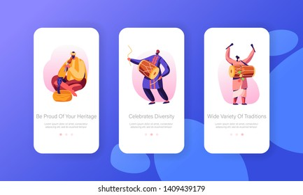 Indian Street Artists Play Music on Traditional Instruments, Yogi Playing on Pipe for Cobra Snake Mobile App Page Onboard Screen Set Concept for Website or Web Page, Cartoon Flat Vector Illustration