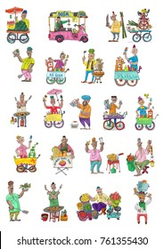 Indian street food linked set. Characters. Cartoon. Caricatures.