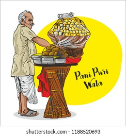indian Street food. pani puri  seller vector illustration