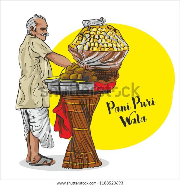 Indian Street Food Pani Puri Seller Stock Vector (Royalty ...