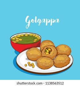 indian Street food vector. golgappa
