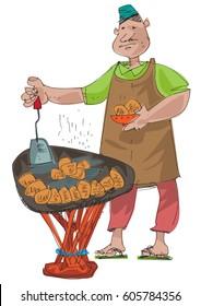 An indian street food vendor offers traditional indian dishI - cartoon