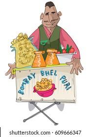 indian street food vendor offers traditional indian dish BHEL PURI - cartoon
