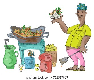 An indian street food vendor offers traditional indian dish - cartoon