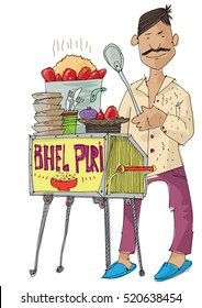 indian street food vendor is selling traditional indian dish BHEL PURI - cartoon