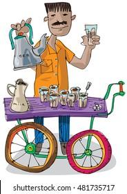 an indian street tea vendor cart - chai walla - cartoon