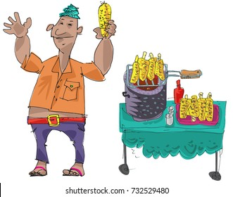 An indian street vendor in turban offers delicious roasted corn cobs. Character. Cartoon.